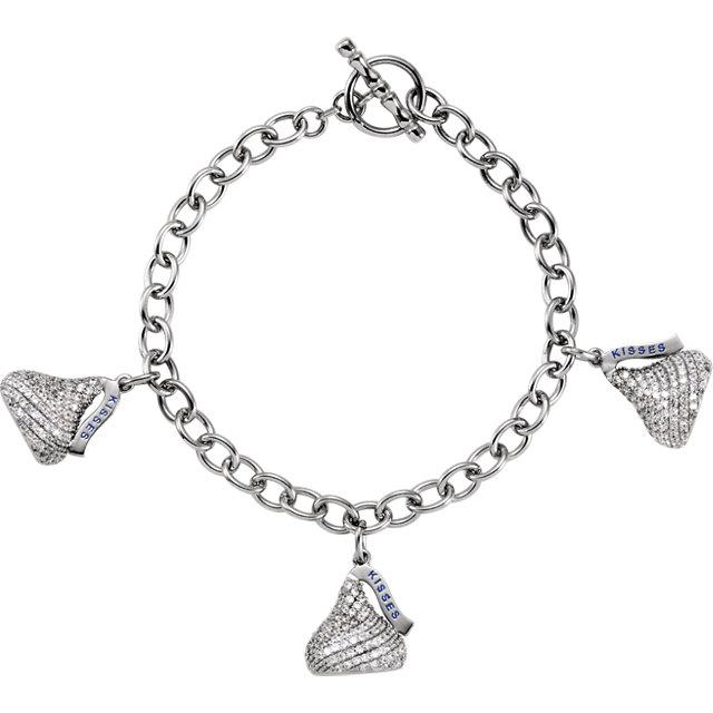Sterling Silver HERSHEY-S KISSES Flat Back Cubic Zirconia Triple Kiss 7.5