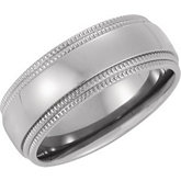 Titanium Ridged Band with Double Milgrain