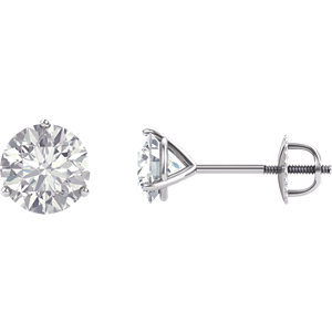 Created Moissanite Round 3-Prong Threaded Post Stud Earrings