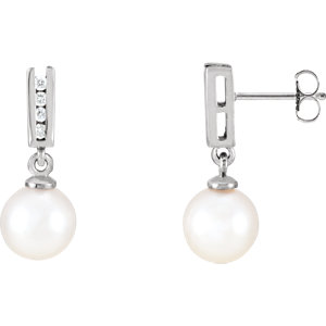 14kt White Akoya Aultured Pearl & 1/  ATW Diamond Earrings