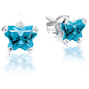 Sterling Silver December Bfly® AZ Birthstone Youth Earrings with Friction Backs and Box