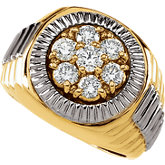 1 1/2 ct tw Two Tone Gents Diamond Ring