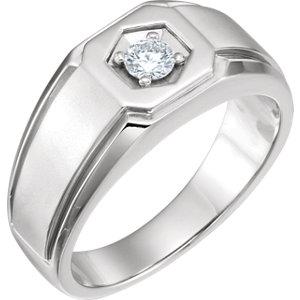 14K White 1/4 CTW Men's Diamond Ring