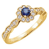 Blue Sapphire & Diamond Halo-Style Ring or Mounting