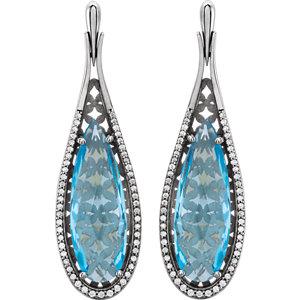 14K White Sky Blue Topaz & 1/3 CTW Diamond Earrings