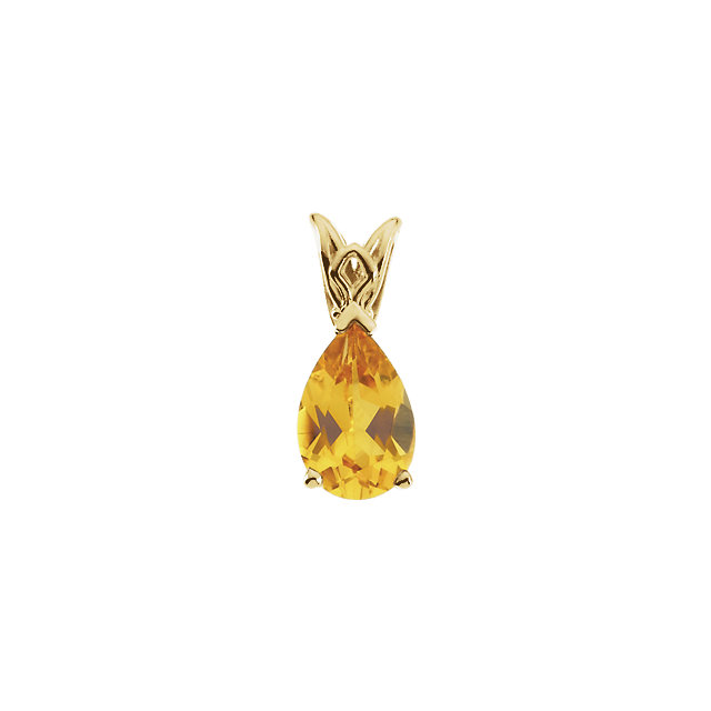 Citrine Pear Scroll Setting® Pendant