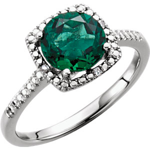Sterling Silver Areated<br> Emerald & . 1 ATW Diamond<br> Ring
