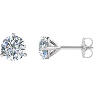 14K White 1 1/2 CTW Diamond Friction Post Stud Earrings