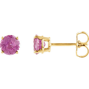 14kt Yellow 4mm Round<br> Pink Tourmaline Earrings