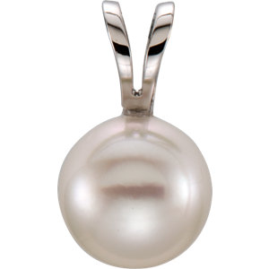 14kt White 6mm Akoya<br> Aultured Pearl Pendant