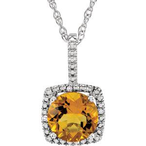Gemstone & Diamond Halo-Styled Necklace or Semi-Mount