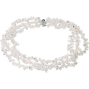 Freshwater Cultured Pearl & Crystal Bracelet or Necklace