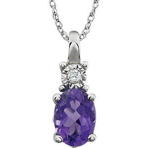 """14K White Amethyst & .02 CTW 18"""" Necklace"""