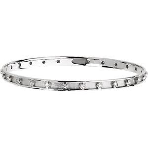 14K White 3/4 CTW Diamond Bangle Bracelet