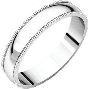 10kt White 4mm Light Milgrain Band