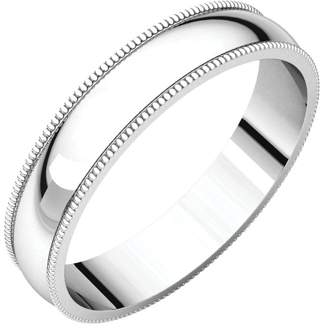 Sterling Silver 4mm Light Milgrain Band
