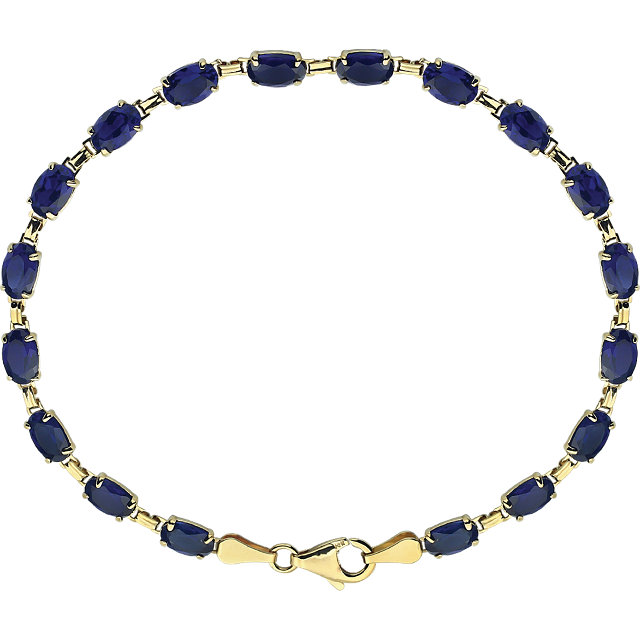 14K Yellow Lab-Grown Blue Sapphire 7