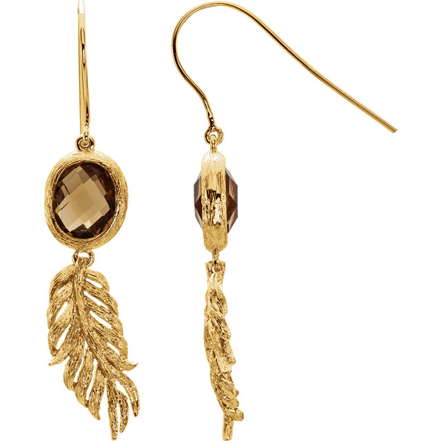14K Yellow Gold-Plated Sterling Silver Checkerboard Honey Quartz Leaf Earrings