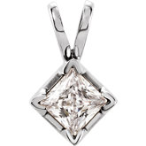 Square 4-Prong V-End Pendant