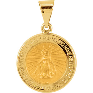 14kt Yellow 15mm Hollow Round Miraculous Medal