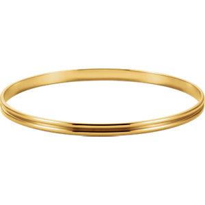14kt Yellow 4mm Grooved Bangle Bracelet