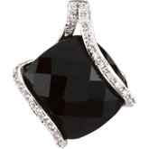 Genuine Onyx & Diamond Pendant