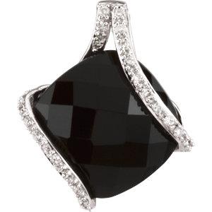 Genuine Onyx & Diamond Pendant