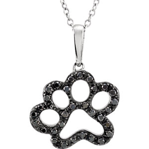 "Sterling Silver 1/3 CTW Black Diamond Animal Paw Print 18"" Necklace"