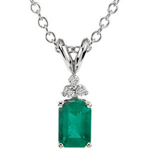 Emerald & Diamond Pendant or Necklace