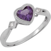 Genuine Amethyst & Diamond Heart Ring