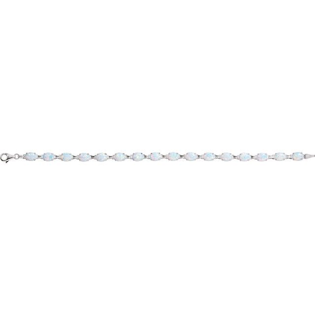 14K White Lab-Grown Opal Line Bracelet