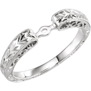 Hand-Engraved Engagement Ring Mounting, Base or Band