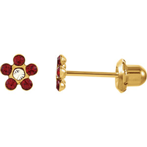 Youth Birthstone Flower Piercing Earrings