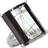 Genuine Tourmalinated Quartz & Onyx Ring