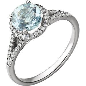 14kt White Aquamarine &<br> 1/5 ATW Diamond Ring