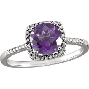 Sterling Silver Amethyst<br> & . 1 ATW Diamond Ring