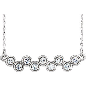 "14K White 1/2 CTW Diamond Bezel Set 16-18"" Necklace"