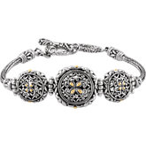 Sterling Silver Bracelet with 18KY Accents & Adjustable Toggle