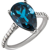 London Blue Topaz  & Diamond Accented Ring or Mounting
