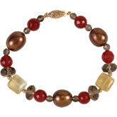 Freshwater Dyed Chocolate Cultured Pearl & Multi-Gemstone Bracelet