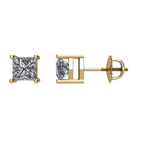 1₁ G-H Princess-Cut Diamond Threaded Post Stud Earrings