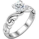 Round Diamond Sculptural Design Engagement Ring or Mounting