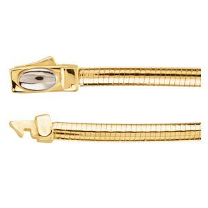 "14K Yellow & White 3mm Two-Tone Reversible Omega 7"" Chain"