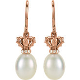 Pearl and Diamond Crown Dangle Earrings