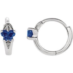 10K White September Bfly® Youth Heart Birthstone Hinged Earrings