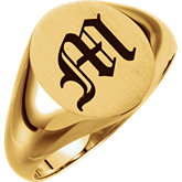 Solid Oval Men's Signet Ring
