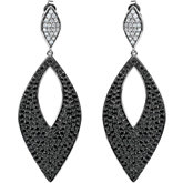 Genuine Black Spinel and Diamond Earrings