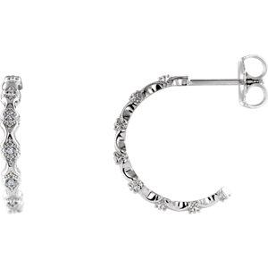 14K White .05 CTW Diamond Hoop Earrings