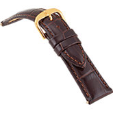 18mm Ladies Short Alligator Grain Padded Brown Watch Strap