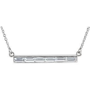 "14K White 3/4 CTW Diamond Bar 17"" Necklace"